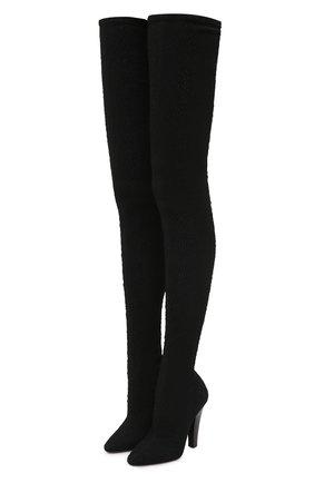 Женские текстильные ботфорты SAINT LAURENT черного цвета, арт. 657928/10G00 | Фото 1 (Материал внешний: Текстиль; Материал внутренний: Натуральная кожа; Каблук тип: Устойчивый; Высота голенища: Высокие; Подошва: Плоская; Каблук высота: Высокий)