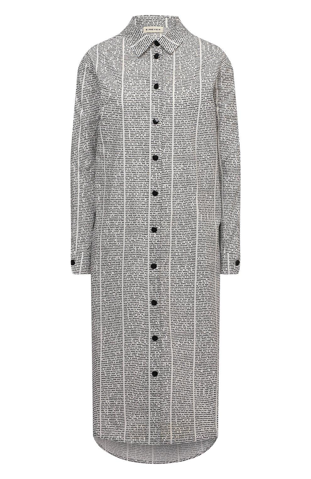 Женское хлопковое платье 5PREVIEW черно-белого цвета, арт. 5PW21007 | Фото 1 (Женское Кросс-КТ: платье-рубашка, Платье-одежда; Рукава: Длинные; Случай: Повседневный; Материал внешний: Хлопок; Длина Ж (юбки, платья, шорты): Миди; Стили: Кэжуэл)