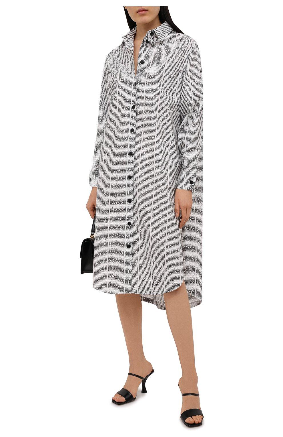 Женское хлопковое платье 5PREVIEW черно-белого цвета, арт. 5PW21007 | Фото 2 (Женское Кросс-КТ: платье-рубашка, Платье-одежда; Рукава: Длинные; Случай: Повседневный; Материал внешний: Хлопок; Длина Ж (юбки, платья, шорты): Миди; Стили: Кэжуэл)