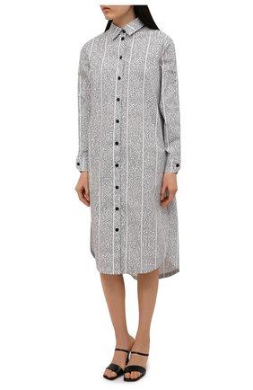 Женское хлопковое платье 5PREVIEW черно-белого цвета, арт. 5PW21007 | Фото 3 (Женское Кросс-КТ: платье-рубашка, Платье-одежда; Рукава: Длинные; Случай: Повседневный; Материал внешний: Хлопок; Длина Ж (юбки, платья, шорты): Миди; Стили: Кэжуэл)