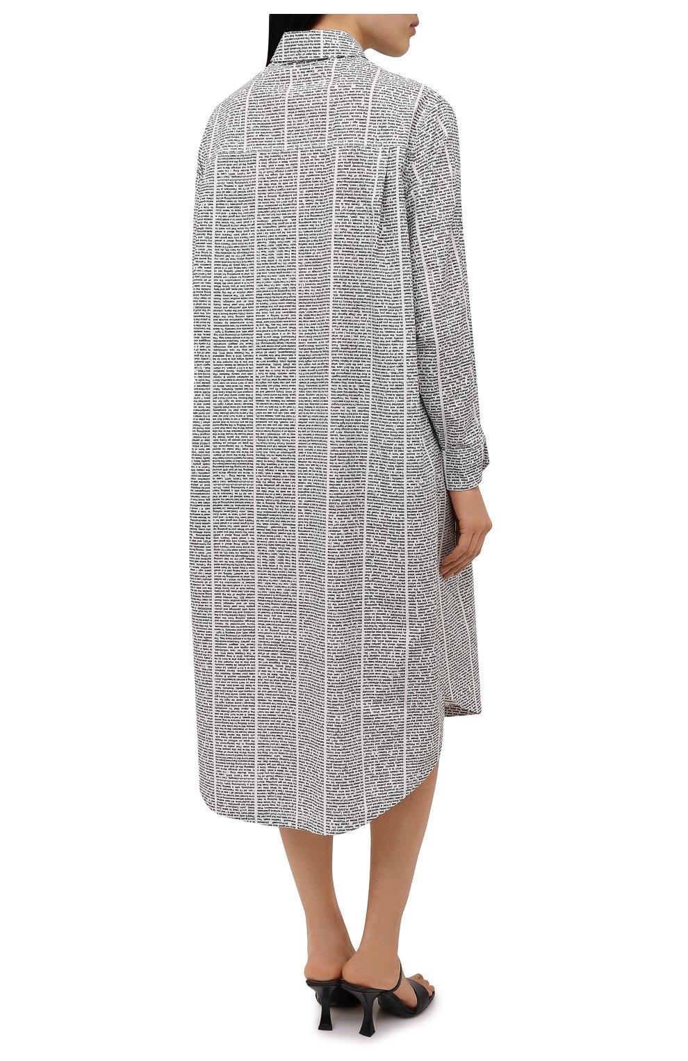 Женское хлопковое платье 5PREVIEW черно-белого цвета, арт. 5PW21007 | Фото 4 (Женское Кросс-КТ: платье-рубашка, Платье-одежда; Рукава: Длинные; Случай: Повседневный; Материал внешний: Хлопок; Длина Ж (юбки, платья, шорты): Миди; Стили: Кэжуэл)