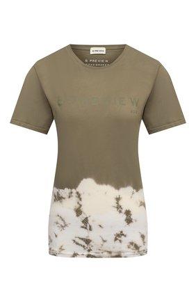 Женская хлопковая футболка 5PREVIEW хаки цвета, арт. 5PW21044 | Фото 1