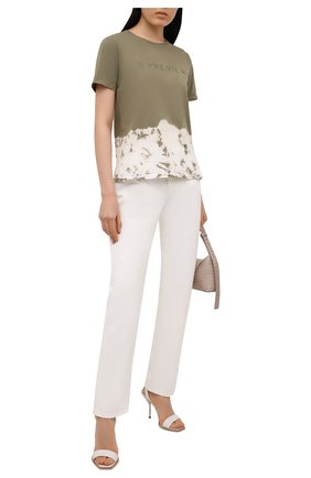 Женская хлопковая футболка 5PREVIEW хаки цвета, арт. 5PW21044 | Фото 2
