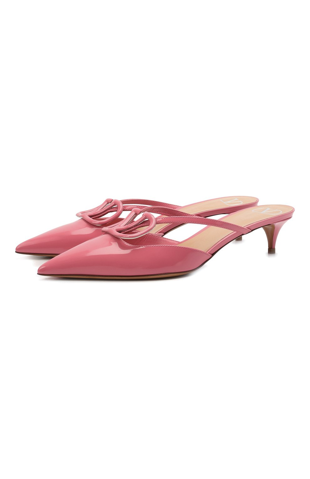 Женские кожаные мюли vlogo signature VALENTINO розового цвета, арт. VW0S0Z74/TMK   Фото 1