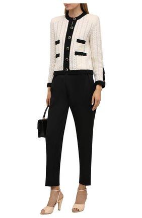 Женские кожаные босоножки SAINT LAURENT кремвого цвета, арт. 662269/19X00 | Фото 2 (Материал внутренний: Натуральная кожа; Каблук тип: Устойчивый; Каблук высота: Высокий; Подошва: Плоская)