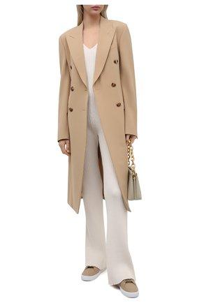 Женские кожаные кеды new salmond BURBERRY бежевого цвета, арт. 8037339 | Фото 2
