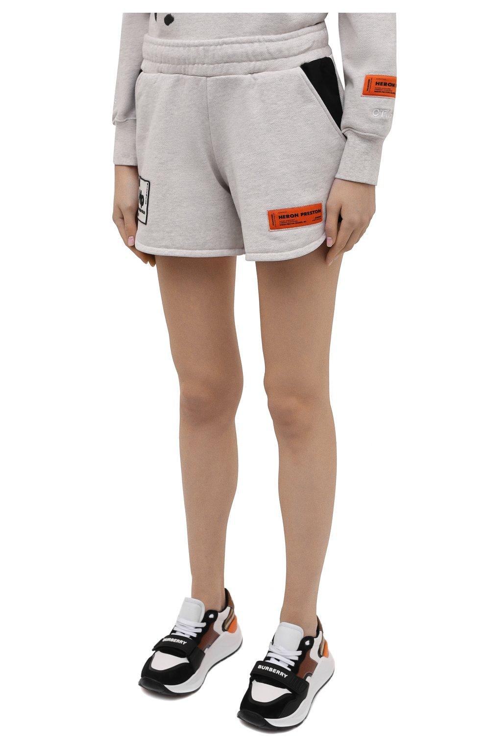 Женские хлопковые шорты HERON PRESTON серого цвета, арт. HWCI003R21JER0010801   Фото 3 (Женское Кросс-КТ: Шорты-одежда; Длина Ж (юбки, платья, шорты): Мини; Материал внешний: Хлопок; Стили: Спорт-шик)