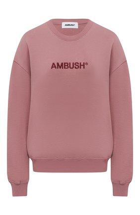 Женский хлопковый свитшот AMBUSH розового цвета, арт. BWBA005S21FLE001 | Фото 1