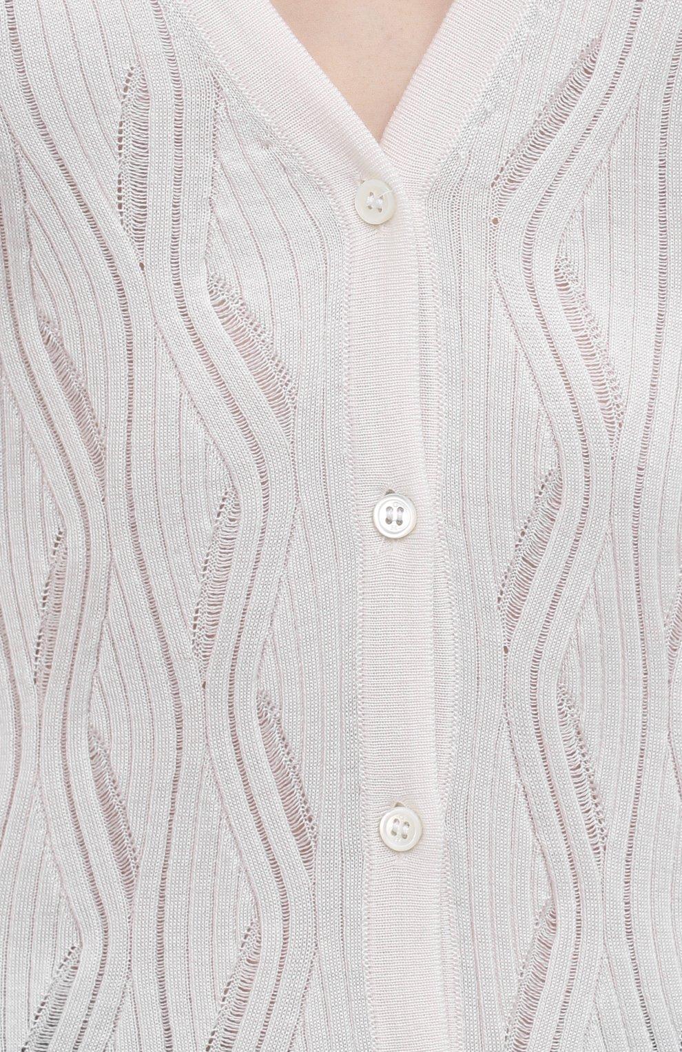 Женский кардиган из кашемира и шелка GABRIELA HEARST белого цвета, арт. 221925 A003   Фото 5 (Материал внешний: Шерсть, Шелк, Кашемир; Рукава: Длинные; Длина (для топов): Стандартные; Кросс-КТ: Трикотаж; Женское Кросс-КТ: кардиган-трикотаж; Стили: Кэжуэл)