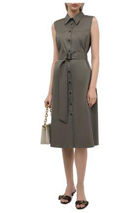 Женское хлопковое платье PIETRO BRUNELLI хаки цвета, арт. AGW442/LG/C00071 | Фото 2