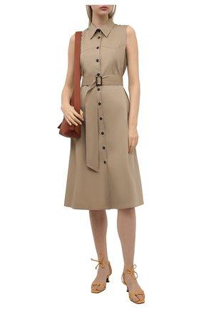 Женское хлопковое платье PIETRO BRUNELLI бежевого цвета, арт. AGW442/LG/C00071 | Фото 2