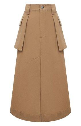 Женская юбка из хлопка и льна GANNI коричневого цвета, арт. F5872 | Фото 1