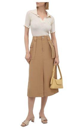 Женская юбка из хлопка и льна GANNI коричневого цвета, арт. F5872 | Фото 2