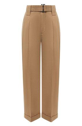 Женские брюки из хлопка и льна GANNI коричневого цвета, арт. F5874 | Фото 1