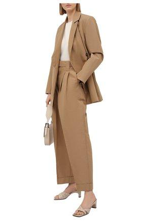 Женские брюки из хлопка и льна GANNI коричневого цвета, арт. F5874 | Фото 2