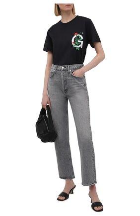 Женская хлопковая футболка GANNI черного цвета, арт. T2780 | Фото 2
