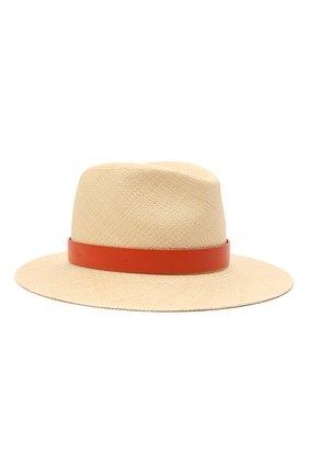 Женская соломенная шляпа VALENTINO оранжевого цвета, арт. VW0HAA31/FHF | Фото 1 (Материал: Растительное волокно)
