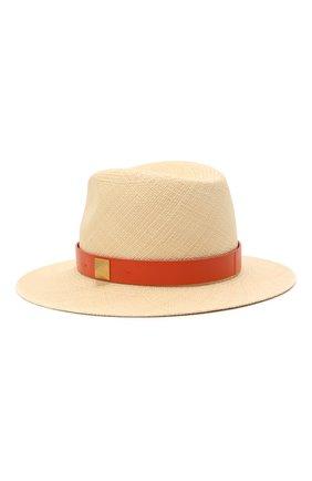 Женская соломенная шляпа VALENTINO оранжевого цвета, арт. VW0HAA31/FHF | Фото 2 (Материал: Растительное волокно)