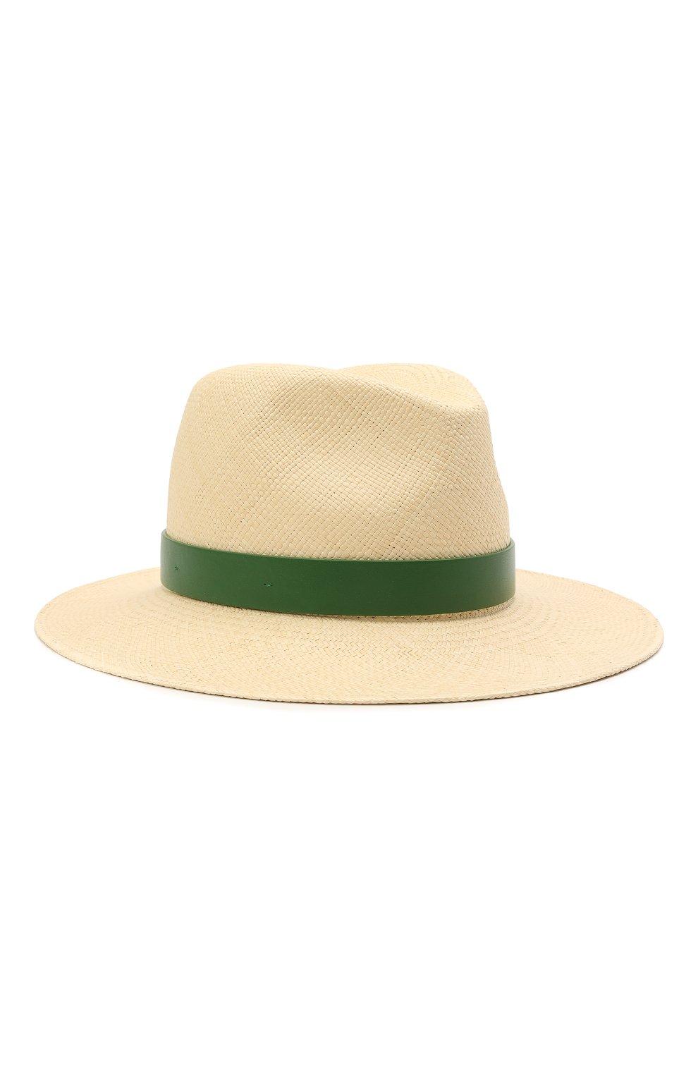 Женская соломенная шляпа VALENTINO зеленого цвета, арт. VW0HAA31/FHF | Фото 1 (Материал: Растительное волокно)