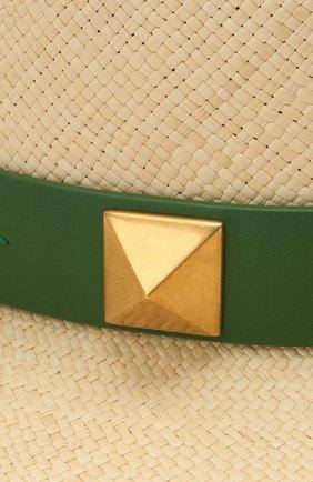 Женская соломенная шляпа VALENTINO зеленого цвета, арт. VW0HAA31/FHF | Фото 3 (Материал: Растительное волокно)