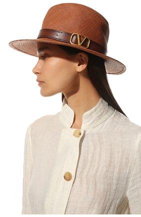 Женская соломенная шляпа  VALENTINO коричневого цвета, арт. VW0HAA31/EXY | Фото 2 (Материал: Растительное волокно)