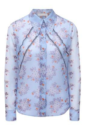 Женская шелковая блузка CHLOÉ голубого цвета, арт. CHC21UHT05322 | Фото 1 (Материал внешний: Шелк; Стили: Романтичный; Длина (для топов): Стандартные; Женское Кросс-КТ: Блуза-одежда; Принт: С принтом; Рукава: Длинные)