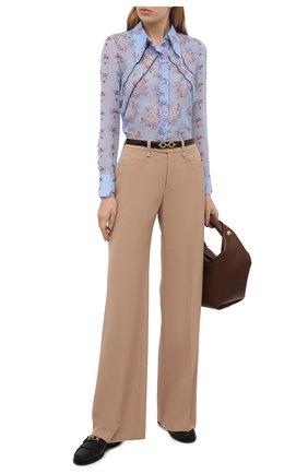 Женская шелковая блузка CHLOÉ голубого цвета, арт. CHC21UHT05322 | Фото 2 (Материал внешний: Шелк; Стили: Романтичный; Длина (для топов): Стандартные; Женское Кросс-КТ: Блуза-одежда; Принт: С принтом; Рукава: Длинные)