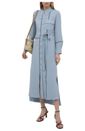 Женское платье из вискозы CHLOÉ голубого цвета, арт. CHC21UR039030   Фото 2