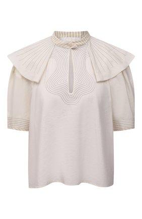 Женская шелковая блузка CHLOÉ светло-бежевого цвета, арт. CHC21UHT25009 | Фото 1 (Рукава: Короткие; Принт: С принтом; Стили: Бохо; Длина (для топов): Стандартные; Материал внешний: Шелк; Женское Кросс-КТ: Блуза-одежда)