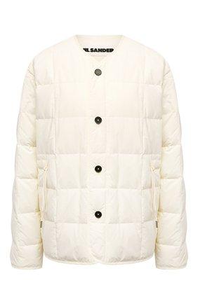 Женская пуховая куртка JIL SANDER светло-бежевого цвета, арт. JPPS440394-WS460800 | Фото 1 (Длина (верхняя одежда): Короткие; Материал внешний: Синтетический материал; Материал подклада: Синтетический материал; Кросс-КТ: Куртка; Рукава: Длинные; Стили: Кэжуэл; Материал утеплителя: Пух и перо)