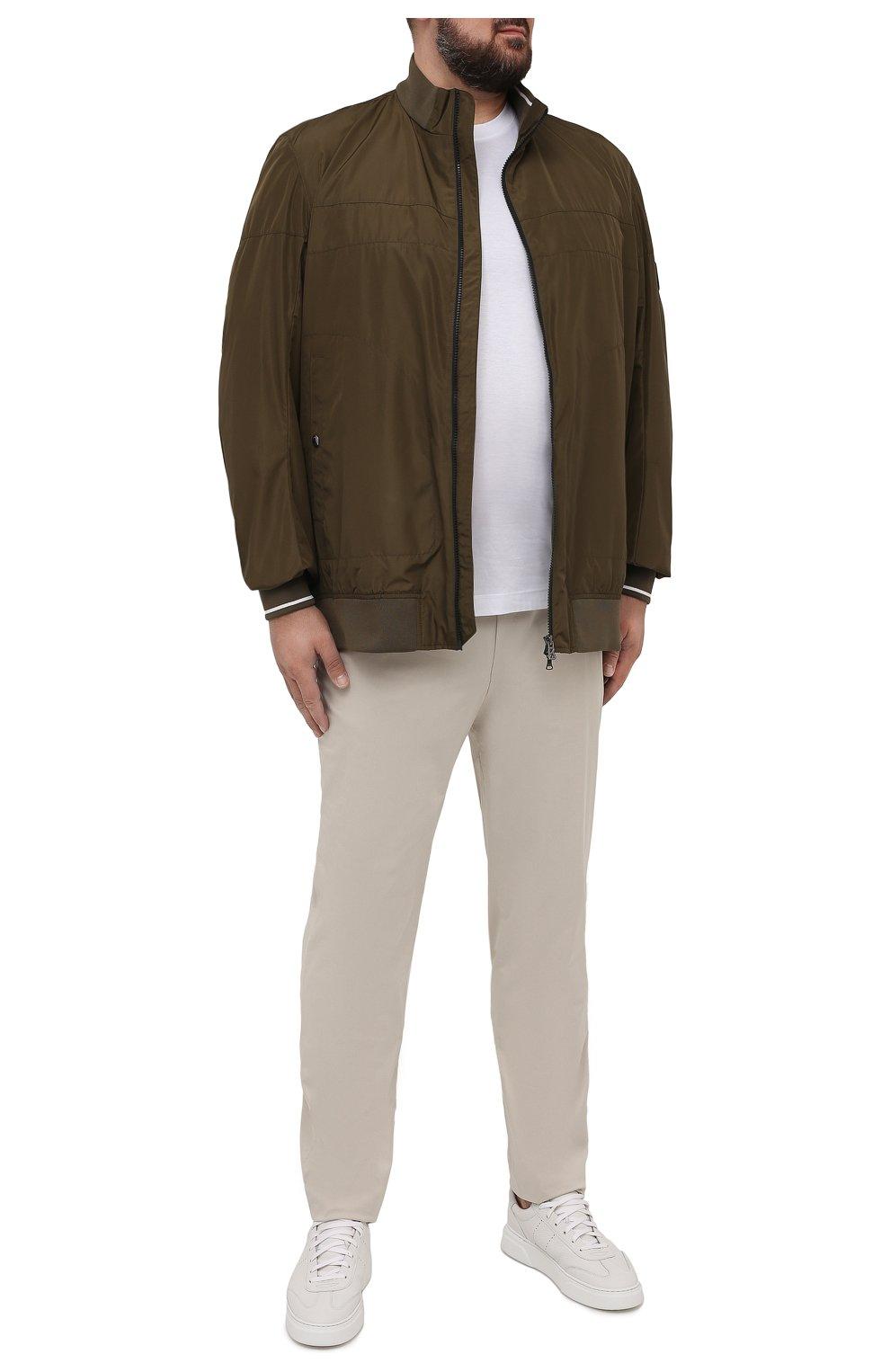 Мужской бомбер BOGNER хаки цвета, арт. 38612487   Фото 2 (Кросс-КТ: Куртка; Big sizes: Big Sizes; Рукава: Длинные; Принт: Без принта; Материал внешний: Синтетический материал; Мужское Кросс-КТ: Верхняя одежда; Длина (верхняя одежда): Короткие; Стили: Кэжуэл)