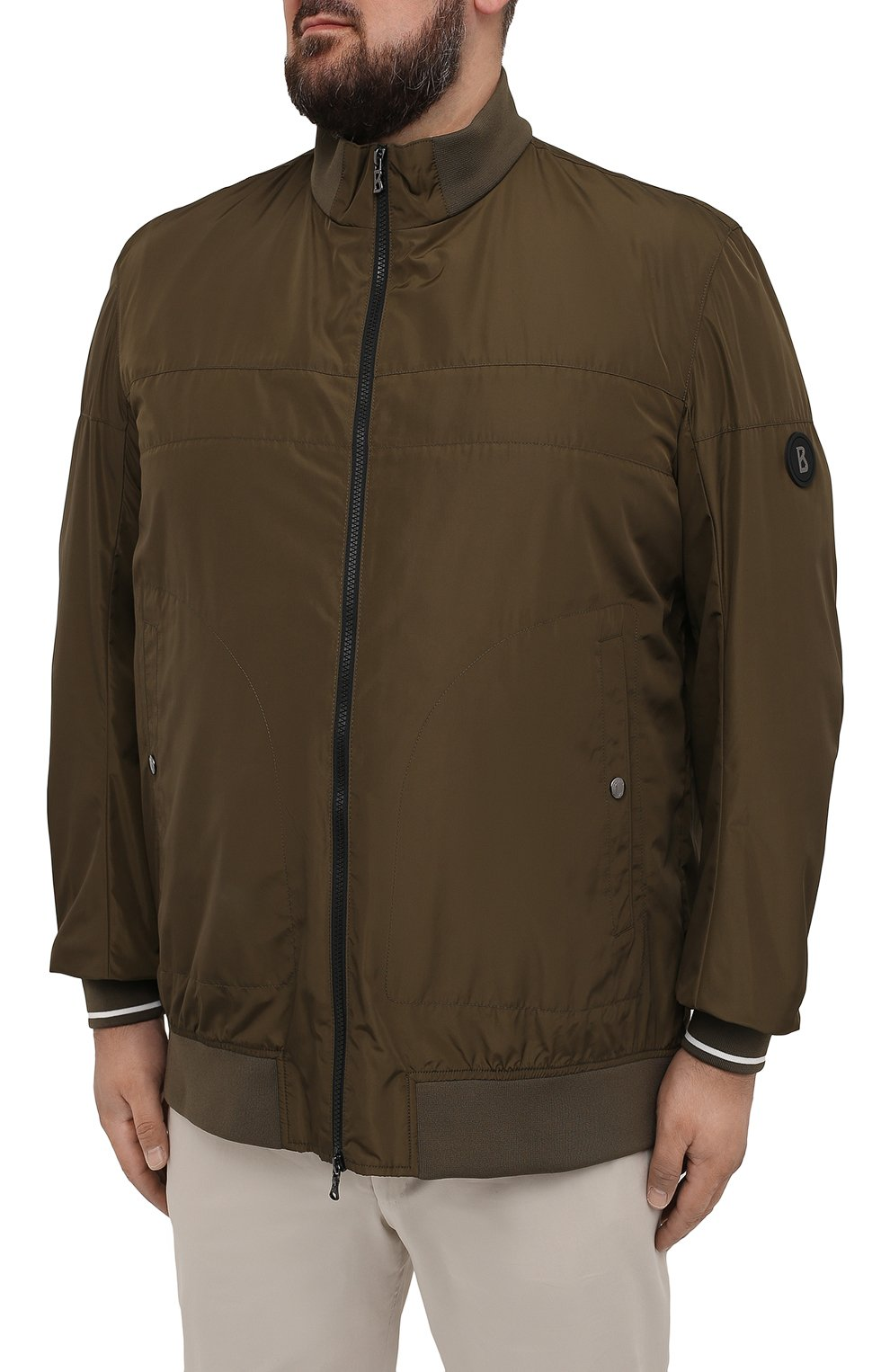 Мужской бомбер BOGNER хаки цвета, арт. 38612487   Фото 3 (Кросс-КТ: Куртка; Big sizes: Big Sizes; Рукава: Длинные; Принт: Без принта; Материал внешний: Синтетический материал; Мужское Кросс-КТ: Верхняя одежда; Длина (верхняя одежда): Короткие; Стили: Кэжуэл)