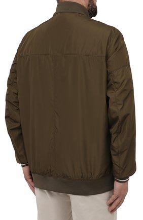 Мужской бомбер BOGNER хаки цвета, арт. 38612487   Фото 4 (Кросс-КТ: Куртка; Big sizes: Big Sizes; Рукава: Длинные; Принт: Без принта; Материал внешний: Синтетический материал; Мужское Кросс-КТ: Верхняя одежда; Длина (верхняя одежда): Короткие; Стили: Кэжуэл)