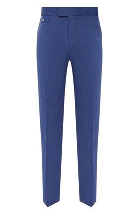 Мужские брюки из шерсти и льна ZILLI темно-синего цвета, арт. M0V-40-38P-E6031/0001   Фото 1