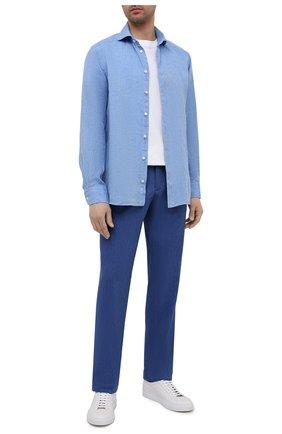 Мужские брюки из шерсти и льна ZILLI темно-синего цвета, арт. M0V-40-38P-E6031/0001   Фото 2