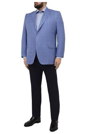 Мужская хлопковая сорочка ETON голубого цвета, арт. 1000 02273 | Фото 2 (Рукава: Длинные; Воротник: Кент; Длина (для топов): Удлиненные, Стандартные; Big sizes: Big Sizes; Манжеты: На пуговицах; Материал внешний: Хлопок; Случай: Формальный; Принт: Клетка; Мужское Кросс-КТ: Рубашка-одежда)