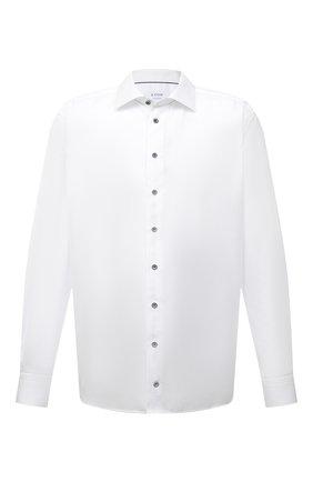 Мужская хлопковая сорочка ETON белого цвета, арт. 1000 02200 | Фото 1 (Принт: Однотонные; Манжеты: На пуговицах; Big sizes: Big Sizes; Длина (для топов): Удлиненные, Стандартные; Мужское Кросс-КТ: Рубашка-одежда; Воротник: Кент; Рукава: Длинные; Случай: Формальный; Материал внешний: Хлопок)