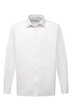 Мужская хлопковая сорочка ETON белого цвета, арт. 1000 03053 | Фото 1 (Big sizes: Big Sizes; Воротник: Кент; Рукава: Длинные; Принт: С принтом; Манжеты: На пуговицах; Длина (для топов): Стандартные; Случай: Формальный; Мужское Кросс-КТ: Рубашка-одежда; Материал внешний: Хлопок)