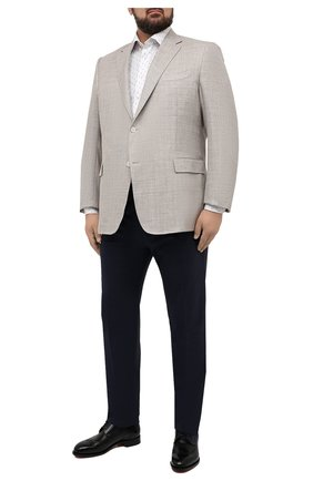 Мужская хлопковая сорочка ETON белого цвета, арт. 1000 03053 | Фото 2 (Big sizes: Big Sizes; Воротник: Кент; Рукава: Длинные; Принт: С принтом; Манжеты: На пуговицах; Длина (для топов): Стандартные; Случай: Формальный; Мужское Кросс-КТ: Рубашка-одежда; Материал внешний: Хлопок)