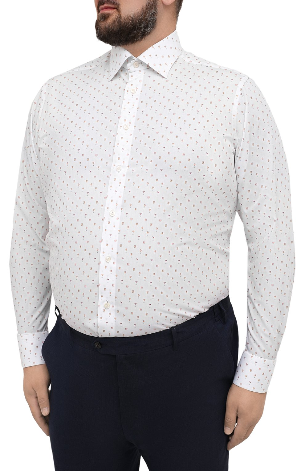Мужская хлопковая сорочка ETON белого цвета, арт. 1000 03053   Фото 3 (Манжеты: На пуговицах; Big sizes: Big Sizes; Воротник: Кент; Рукава: Длинные; Длина (для топов): Стандартные; Принт: С принтом; Материал внешний: Хлопок; Случай: Формальный; Мужское Кросс-КТ: Рубашка-одежда)