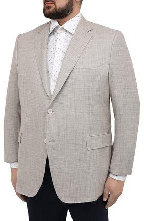 Мужской пиджак из шерсти и шелка CANALI бежевого цвета, арт. 21280/CU00383/60-64 | Фото 3