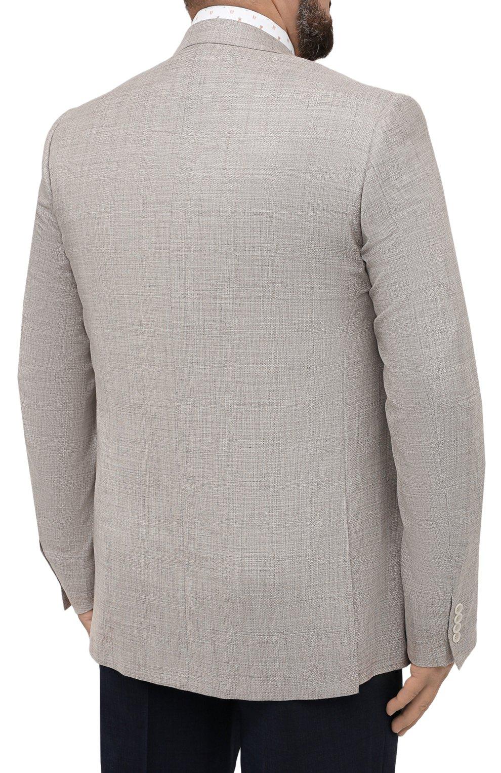 Мужской пиджак из шерсти и шелка CANALI бежевого цвета, арт. 21280/CU00383/60-64 | Фото 4