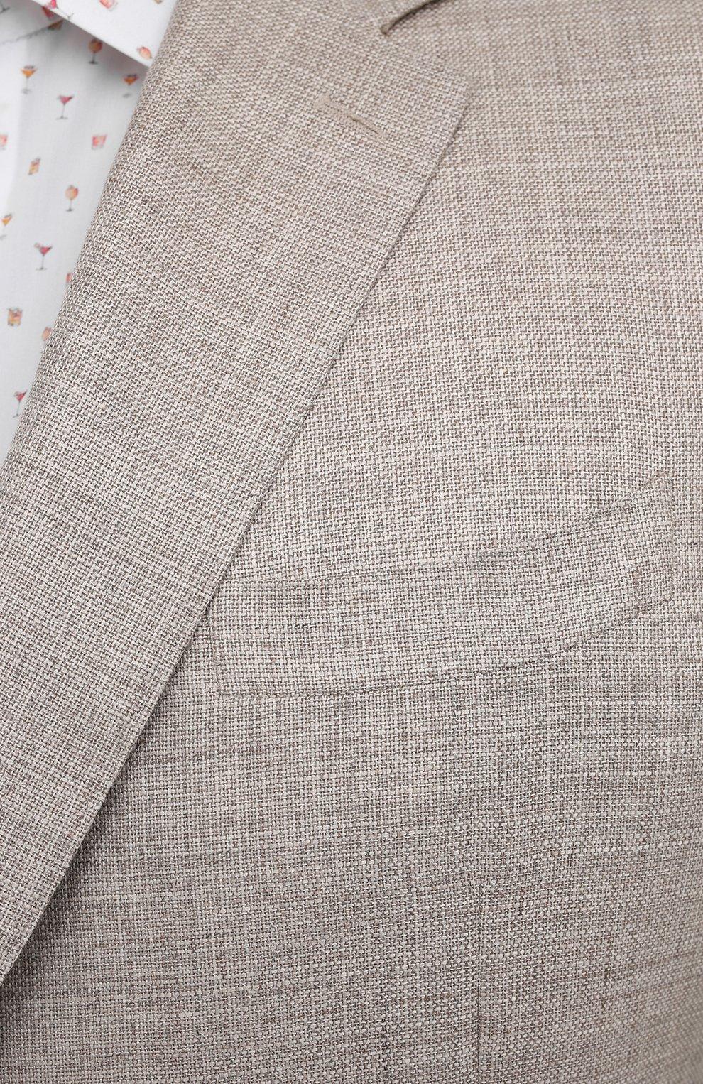 Мужской пиджак из шерсти и шелка CANALI бежевого цвета, арт. 21280/CU00383/60-64 | Фото 5