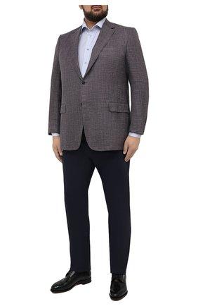 Мужской пиджак из шерсти и шелка CANALI синего цвета, арт. 21280/CU00383/60-64   Фото 2 (1-2-бортные: Однобортные; Рукава: Длинные; Материал подклада: Купро; Стили: Кэжуэл; Пиджаки М: Прямой; Случай: Повседневный; Материал внешний: Шерсть; Длина (для топов): Стандартные; Big sizes: Big Sizes)
