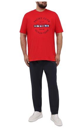 Мужская хлопковая футболка PAUL&SHARK красного цвета, арт. 21411096/C00/3XL-6XL | Фото 2