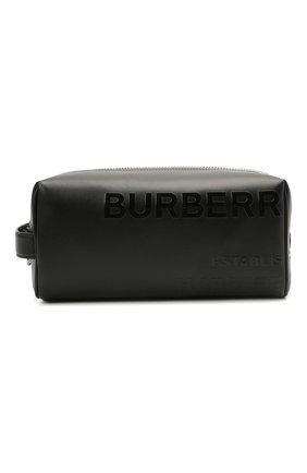 Мужской кожаный несессер BURBERRY черного цвета, арт. 8039015 | Фото 1