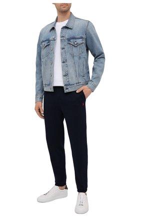 Мужские джоггеры POLO RALPH LAUREN темно-синего цвета, арт. 710793939 | Фото 2 (Материал внешний: Синтетический материал, Хлопок; Стили: Кэжуэл; Мужское Кросс-КТ: Брюки-трикотаж; Длина (брюки, джинсы): Стандартные; Силуэт М (брюки): Джоггеры)