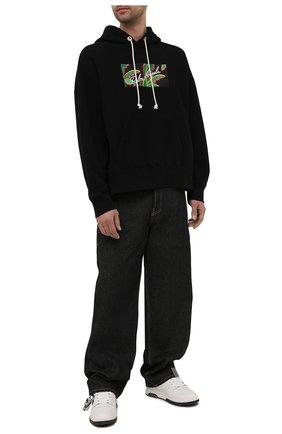 Мужской хлопковое худи PALM ANGELS черного цвета, арт. PMBB058S21FLE0041001 | Фото 2
