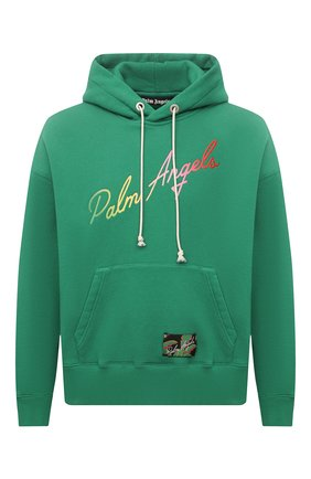 Мужской хлопковое худи PALM ANGELS зеленого цвета, арт. PMBB058S21FLE0035584 | Фото 1
