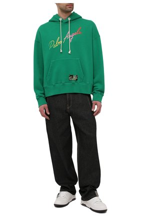Мужской хлопковое худи PALM ANGELS зеленого цвета, арт. PMBB058S21FLE0035584 | Фото 2